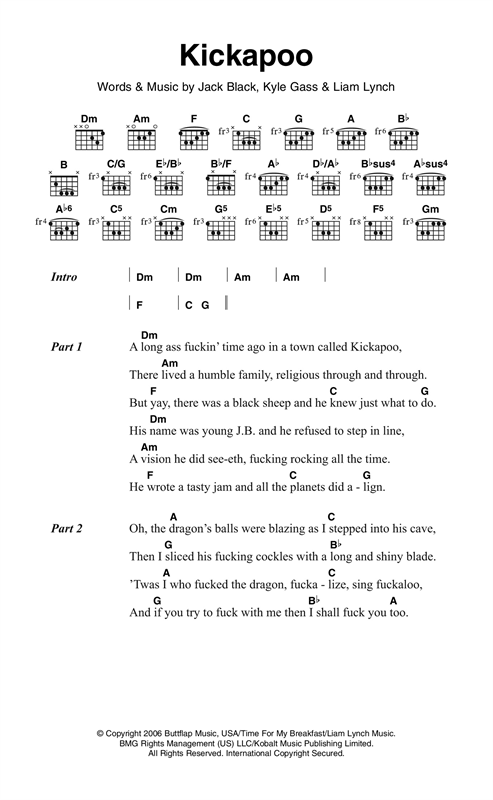 Kickapoo Sheet Music By Tenacious D Lyrics Chords 121113