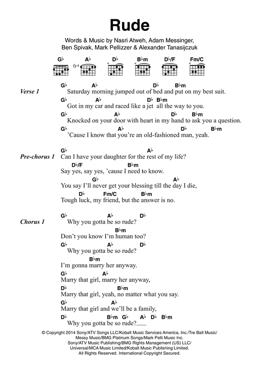 rude sheet music by magic lyrics amp chords � 121117