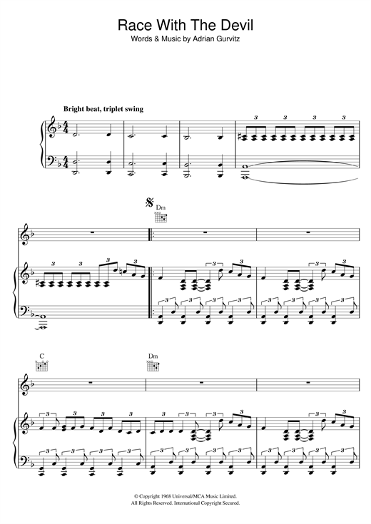 Race With The Devil Sheet Music