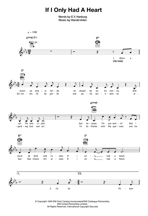 Tablature guitare If I Only Had A Heart de Harold Arlen - Ukulele