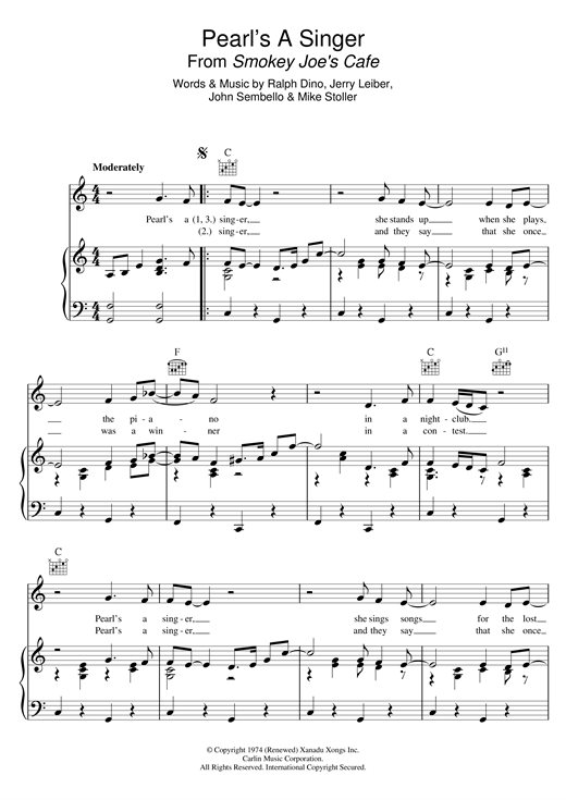 Pearl's A Singer (from 'Smokey Joe's Cafe') Sheet Music