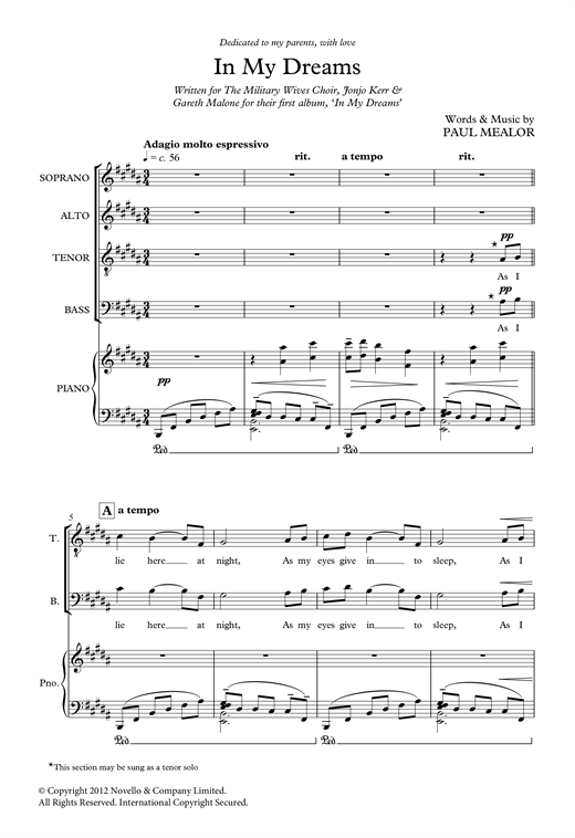 Partition chorale In My Dreams de Paul Mealor - SATB