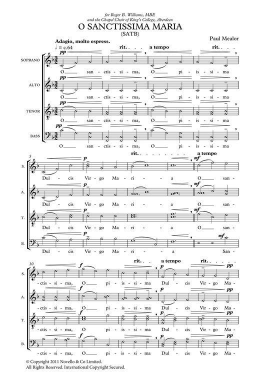 O Sanctissima Maria Sheet Music