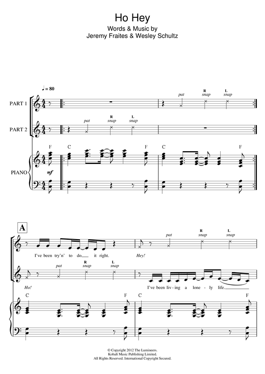 Partition chorale Ho Hey  (arr. Rick Hein) de The Lumineers - 2 voix