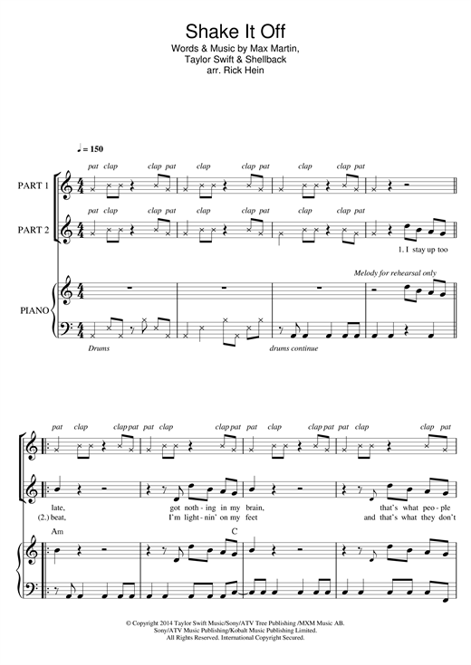 Partition chorale Shake It Off (arr. Rick Hein) de Taylor Swift - 2 voix