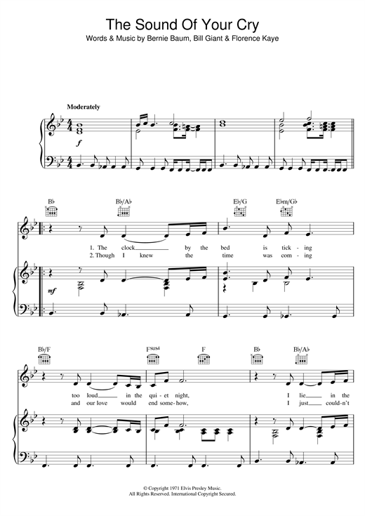 The Sound Of Your Cry Sheet Music