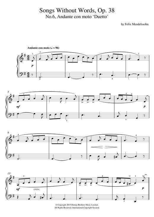 Song Without Words, Op. 38, No. 6 'Duetto' Sheet Music