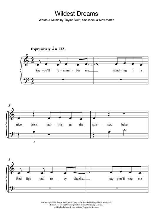 Piano : wildest dreams piano chords Wildest Dreams Piano Chords ...
