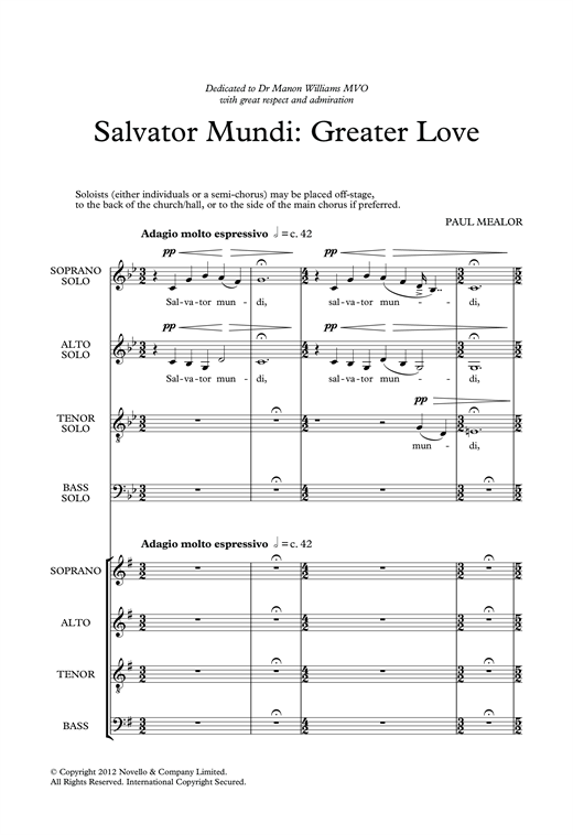 Salvator Mundi: Greater Love Sheet Music