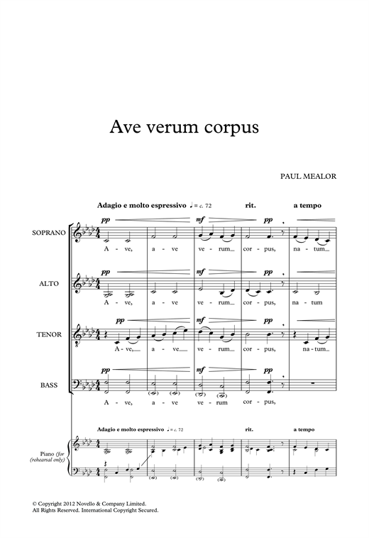 Partition autre Ave Verum Corpus de Paul Mealor - Autre