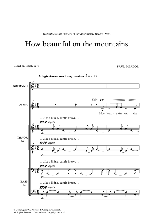 How Beautiful On The Mountains Sheet Music