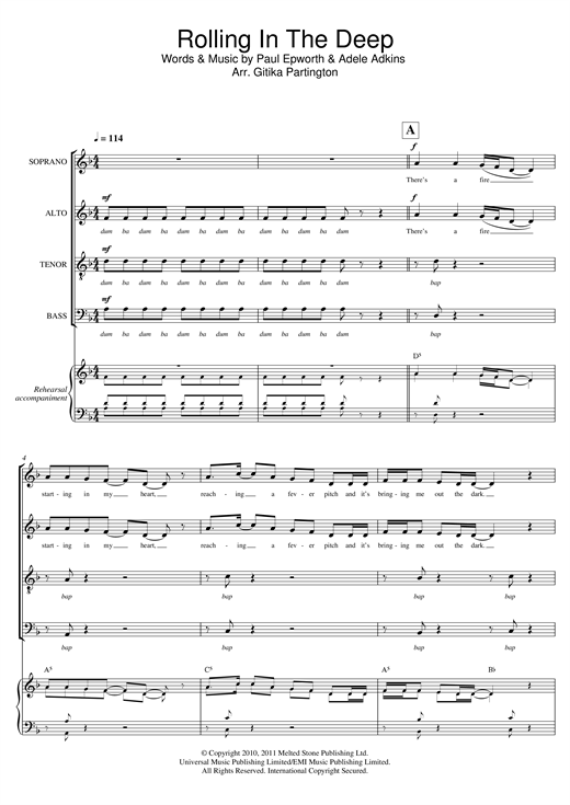 Partition chorale Rolling In The Deep (arr. Gitika Partington) de Adele - SATB
