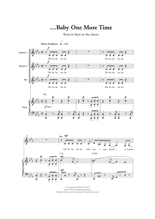 ...Baby One More Time (arr. Berty Rice) Sheet Music