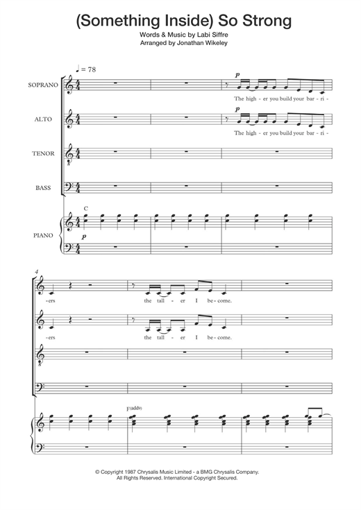 Partition chorale (Something Inside) So Strong (arr. Jonathan Wikeley) de Labi Siffre - SATB