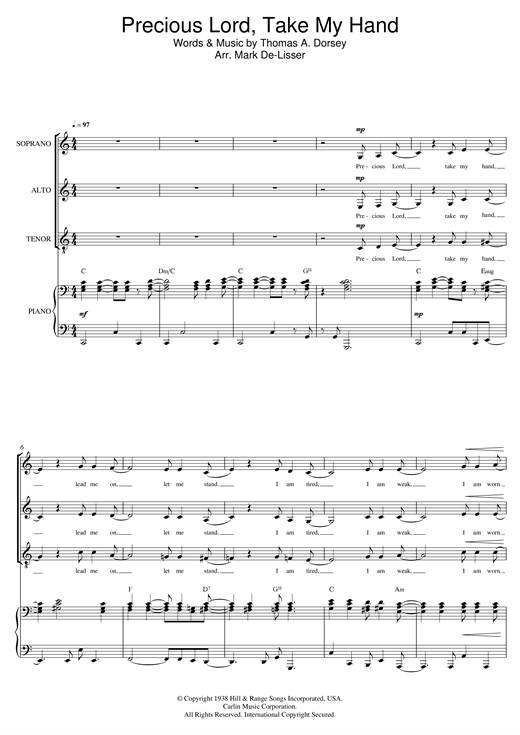 Precious Lord, Take My Hand (Take My Hand, Precious Lord) (arr. Mark De-Lisser) Sheet Music