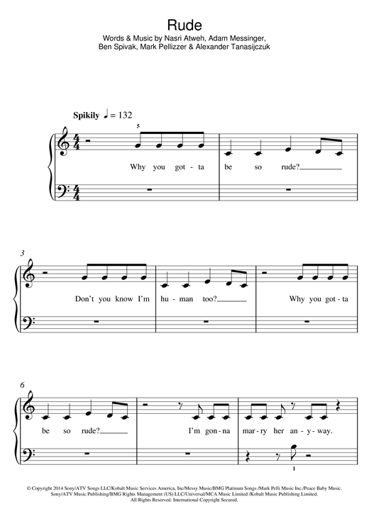 Rude Sheet Music