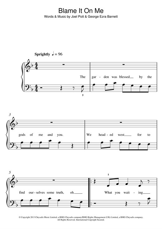 Blame It On Me Sheet Music