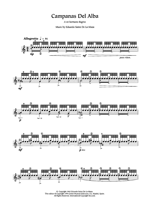 Campanas Del Alba Sheet Music