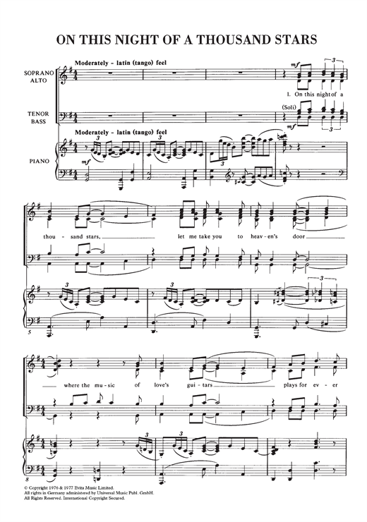 Partition chorale On This Night Of A Thousand Stars de Andrew Lloyd Webber - SATB