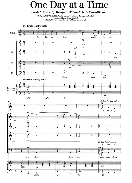 Partition chorale One Day At A Time de Kris Kristofferson - SATB