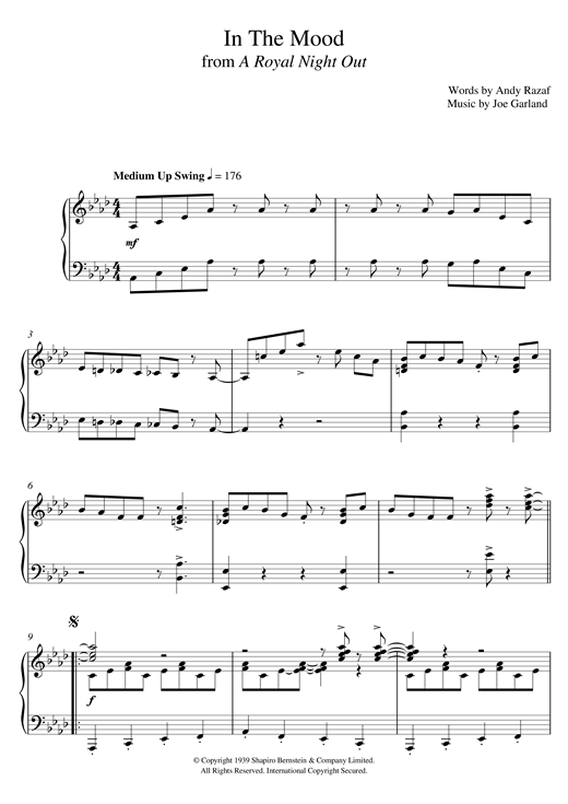 Partition piano In The Mood de Paul Englishby - Piano Solo