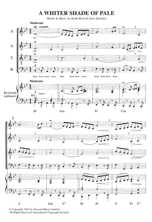 Partition chorale A Whiter Shade Of Pale de Procol Harum - SATB