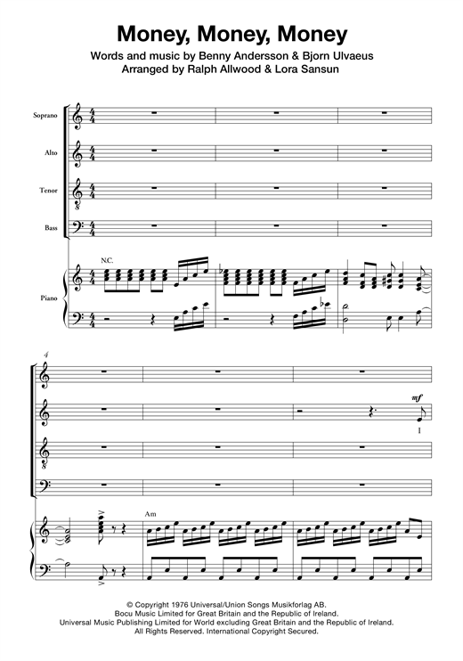 Partition chorale Money, Money, Money de ABBA - SATB