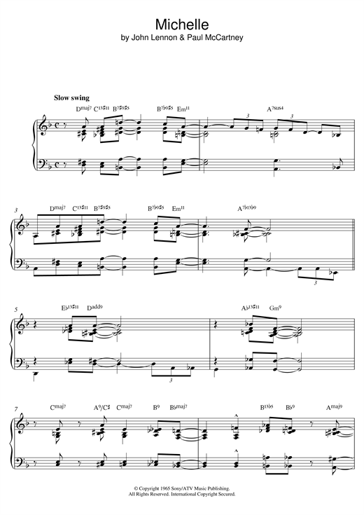 page one of Michelle (Jazz version)ASALTTEXT
