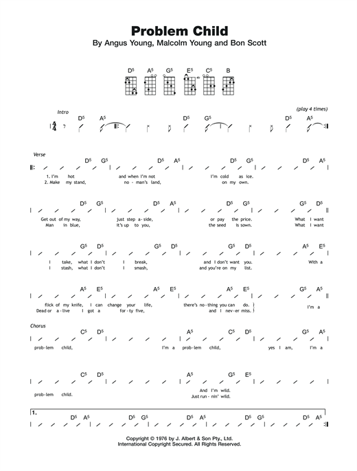 Tablature guitare Problem Child de AC/DC - Ukulele