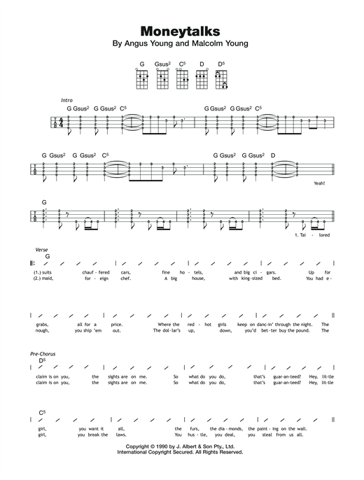 Moneytalks Sheet Music
