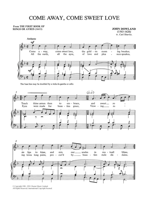Come Away, Come Sweet Love Sheet Music