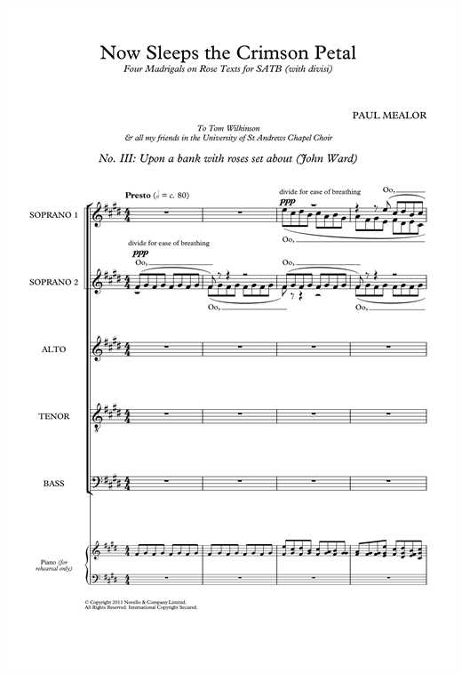 Upon A Bank With Roses Set About (from 'Four Madrigals on Rose Texts') Sheet Music