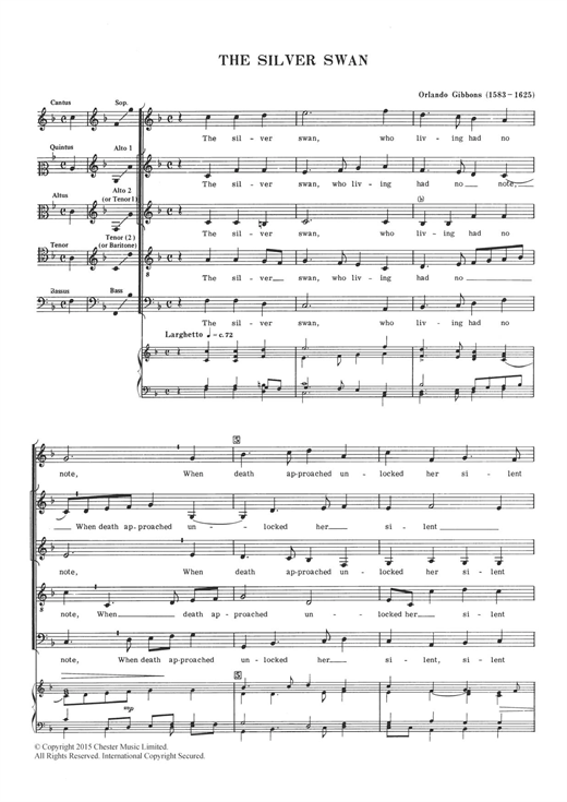 The Silver Swan Sheet Music