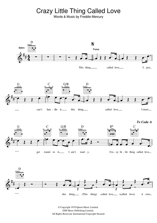 Crazy Little Thing Called Love Print Sheet Music Now
