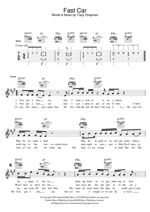 Fast Car Chords By Tracy Chapman Melody Line Lyrics Chords - Tracy chapman fast car guitar