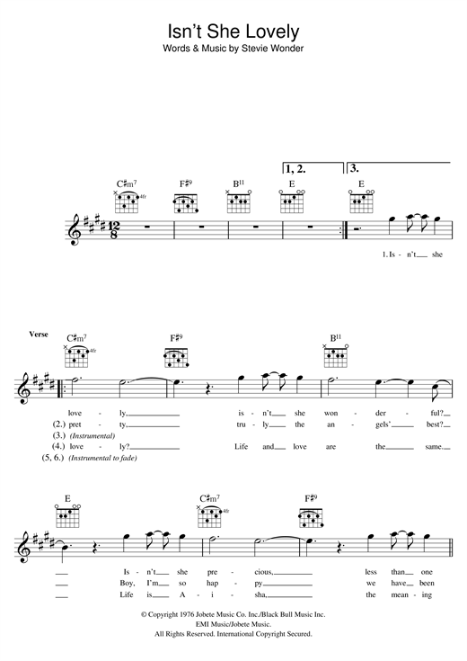 Isn't She Lovely (Lead Sheet / Fake Book)