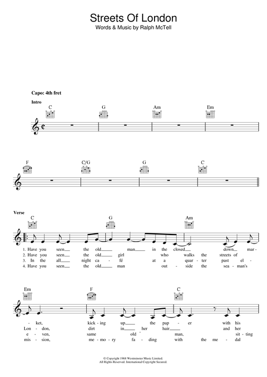 Streets Of London Chords By Ralph Mctell Melody Line Lyrics