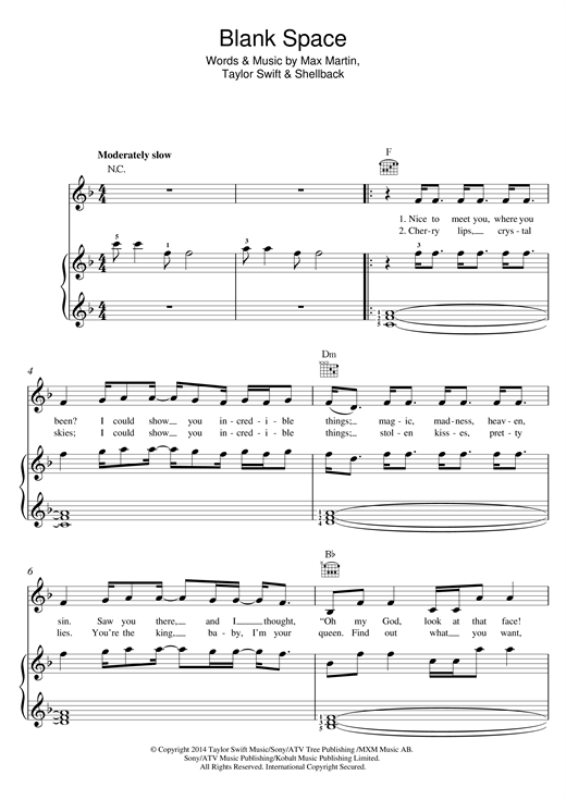Guitar u00bb Guitar Tabs Blank Space - Music Sheets, Tablature, Chords and Lyrics