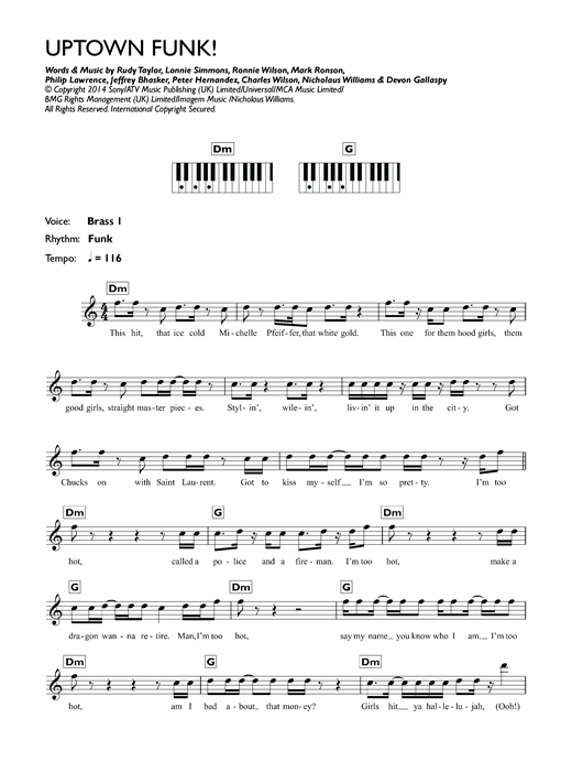 Uptown funk feat bruno mars sheet music by mark ronson keyboard