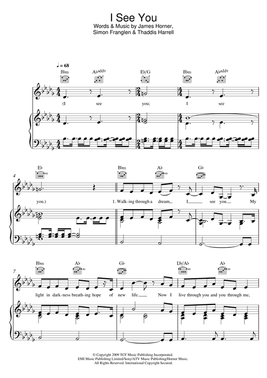 page one of I See You (Theme From 'Avatar')ASALTTEXT