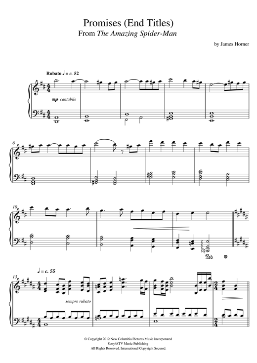 Promises (From 'The Amazing Spider-Man' End Titles) Sheet Music