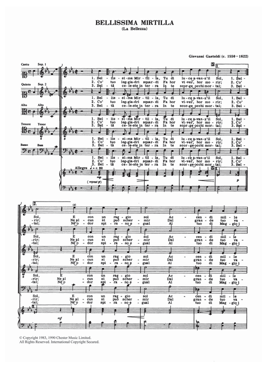 Bellissima Mirtilla Sheet Music