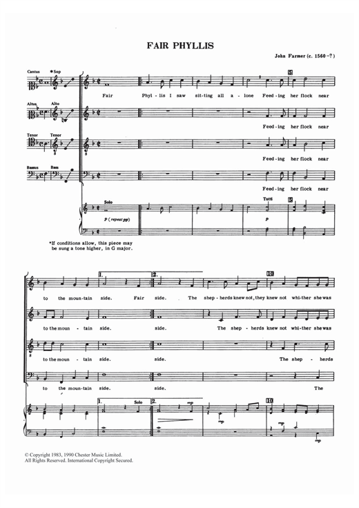 Partition chorale Fair Phyllis de John Farmer - SATB