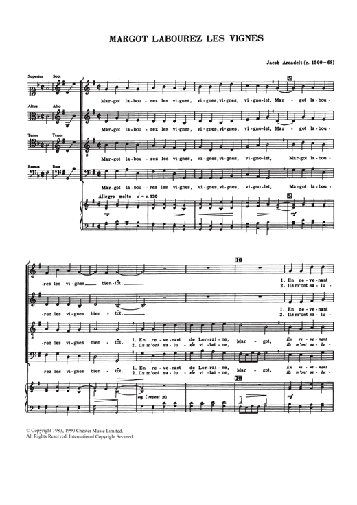 Partition chorale Margot Labourez Les Vignes de Jacob Arcadelt - SATB