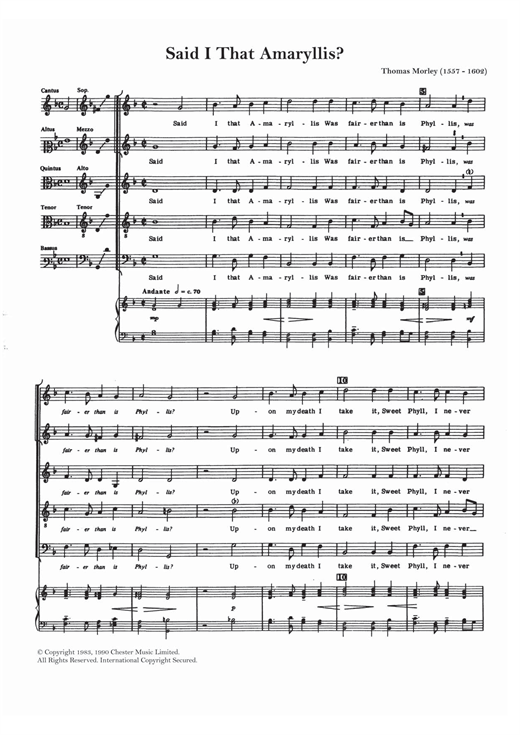 Said I That Amaryllis? Sheet Music