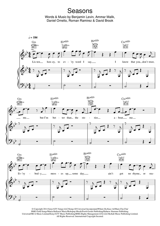 Seasons Sheet Music