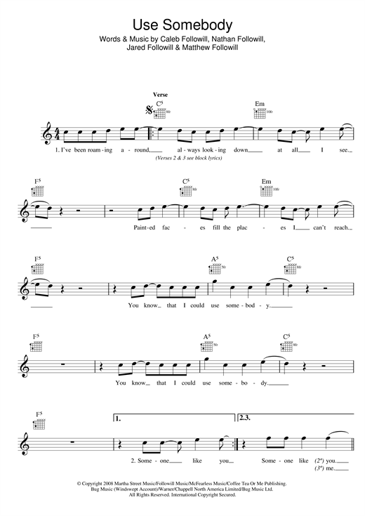 Use Somebody (Lead Sheet / Fake Book)