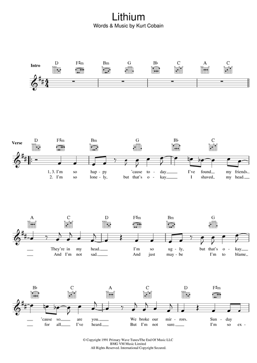Lithium Sheet Music