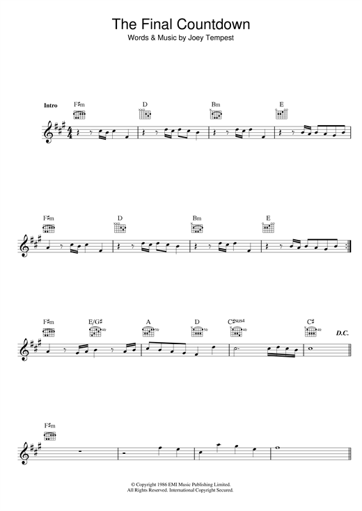 Piano piano chords melody : The Final Countdown chords by Joey Tempest (Melody Line, Lyrics ...