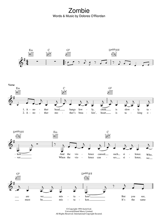 Zombie (Lead Sheet / Fake Book)